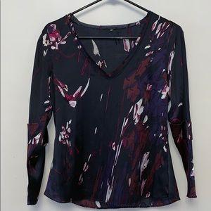 Elie Tahari Abstract Print Silk Blouse
